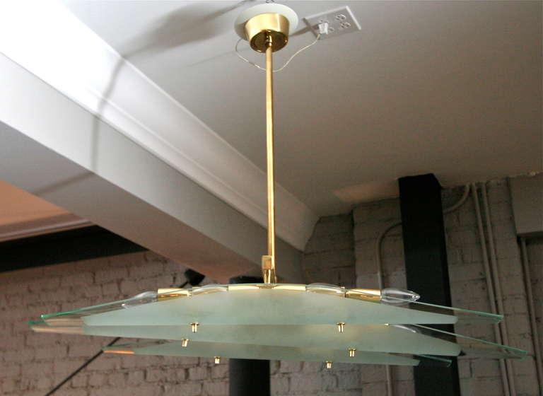 Dominici 1960s Chandelier with Three Glass Pieces on Brass Frame 6