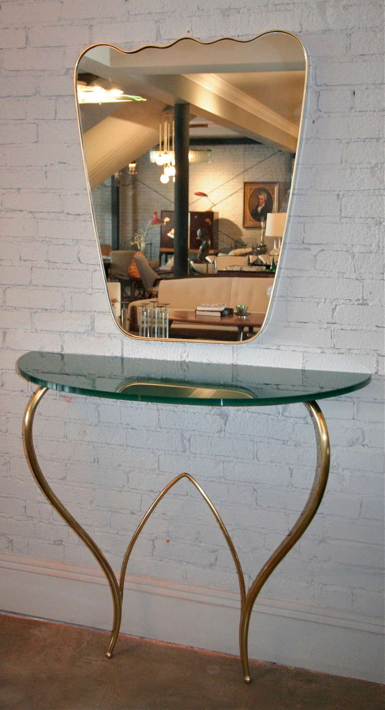 Italian 1960s brass console and mirror with green glass top
