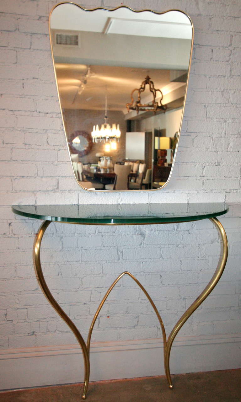 Italian 1960s Brass Console and Mirror In Excellent Condition For Sale In Los Angeles, CA