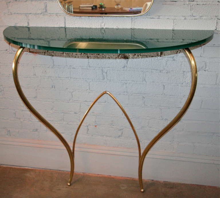 Mid-20th Century Italian 1960s Brass Console and Mirror For Sale