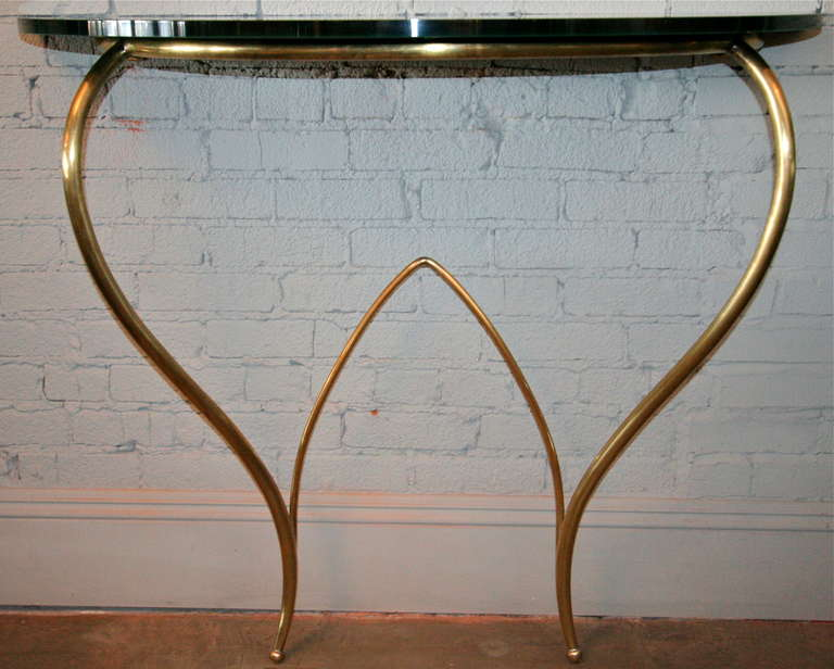 Italian 1960s Brass Console and Mirror For Sale 4