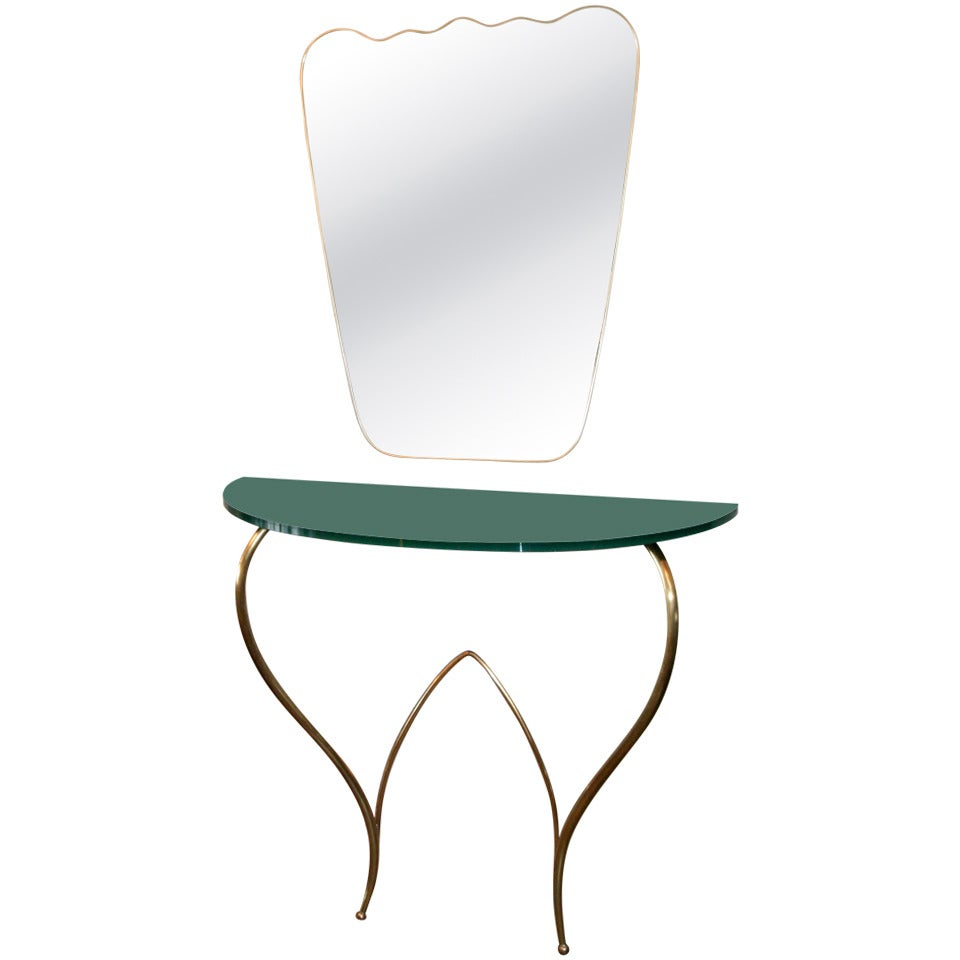 Italian 1960s Brass Console and Mirror
