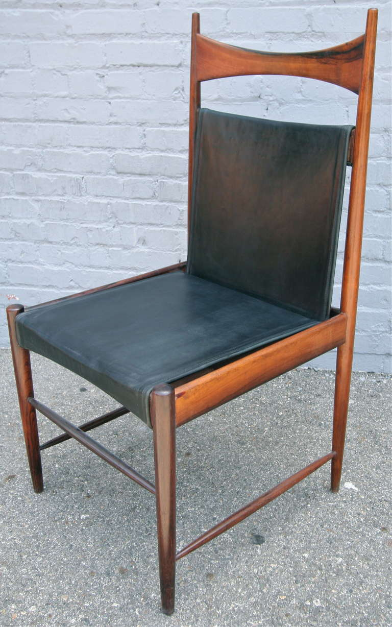 Mid-Century Modern Set of 1960s Brazilian Jacaranda Cantu Chairs by Sergio Rodrigues For Sale
