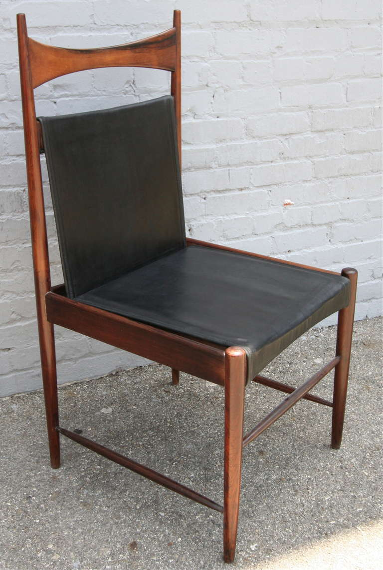 Set of 1960s Brazilian Jacaranda Cantu Chairs by Sergio Rodrigues In Excellent Condition For Sale In Los Angeles, CA