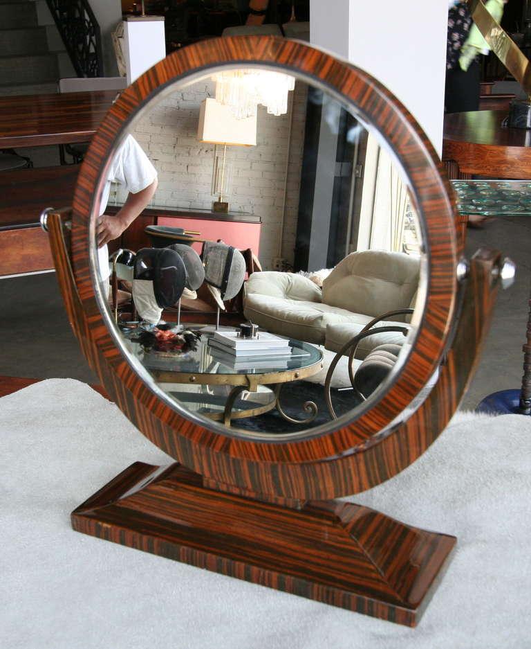 Art Deco Macassar Ebony 1950s Tilting Vanity Mirror For Sale