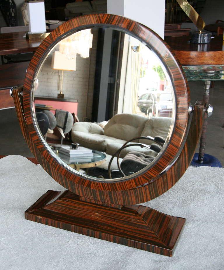 French Macassar Ebony 1950s Tilting Vanity Mirror For Sale