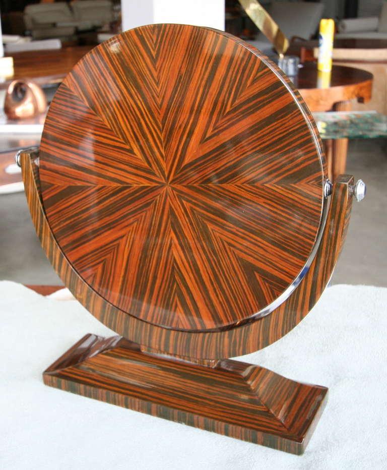 Macassar Ebony 1950s Tilting Vanity Mirror In Good Condition For Sale In Los Angeles, CA