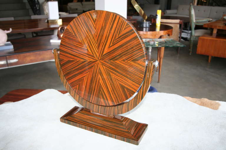 Mid-20th Century Macassar Ebony 1950s Tilting Vanity Mirror For Sale