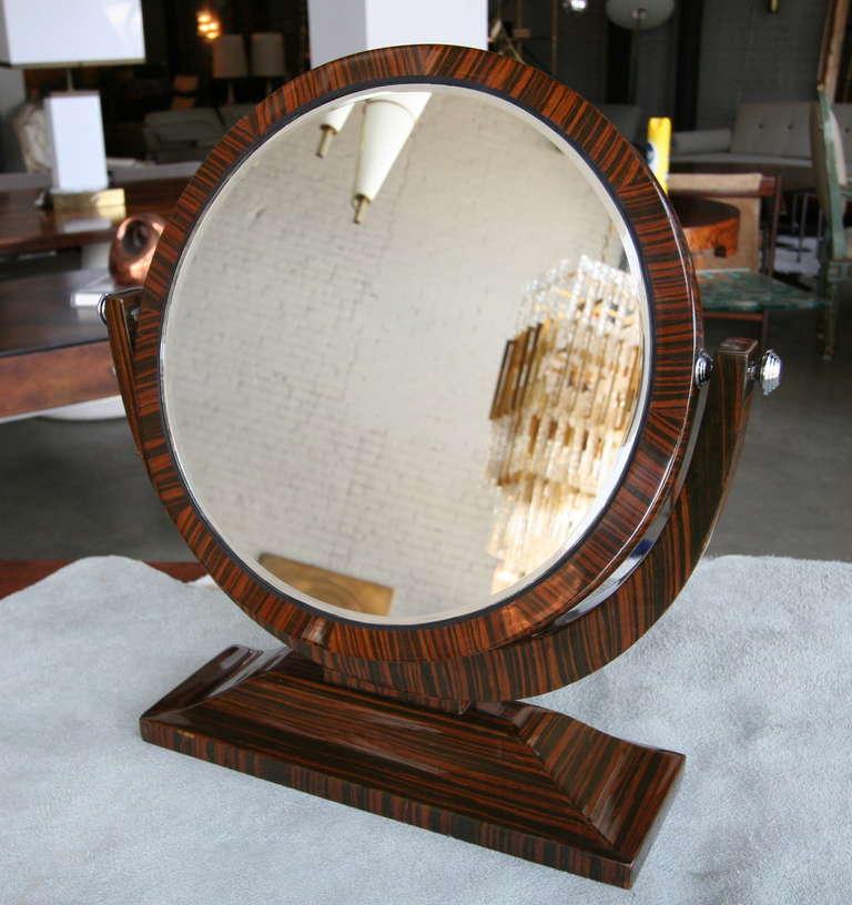 Macassar Ebony 1950s Tilting Vanity Mirror For Sale 3