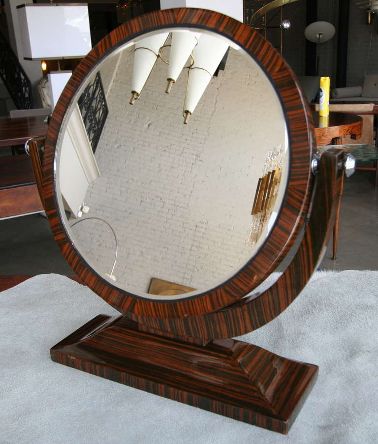 Macassar Ebony 1950s Tilting Vanity Mirror For Sale 4