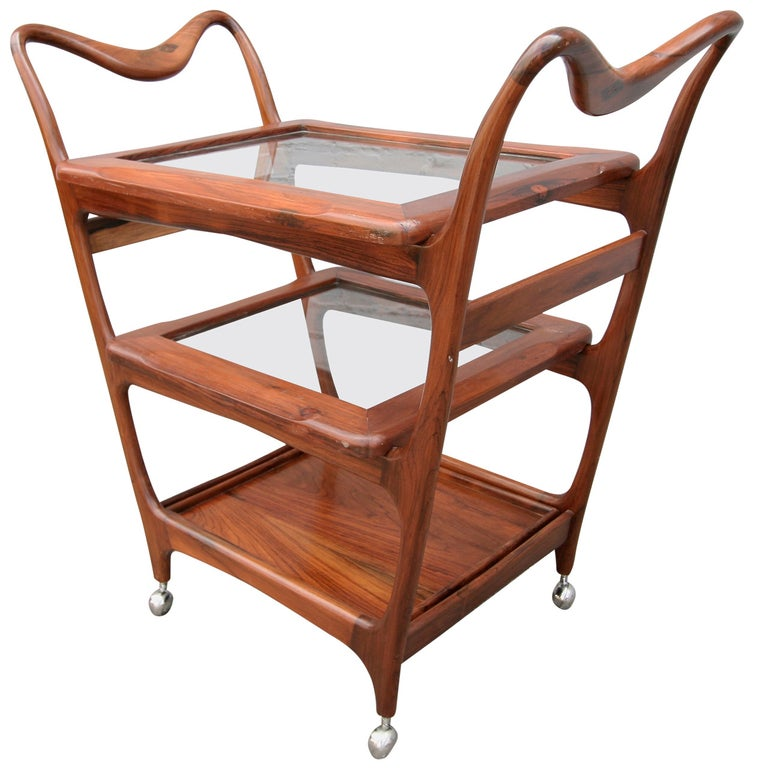Scapinelli 1960s Brazilian Jacaranda Bar Cart with Three Shelves For Sale