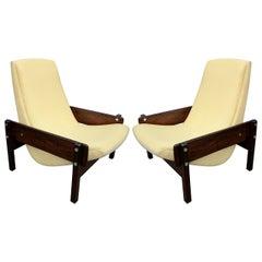 Pair of 1960s Sergio Rodrigues Brazilian Jacaranda Vronka Chairs
