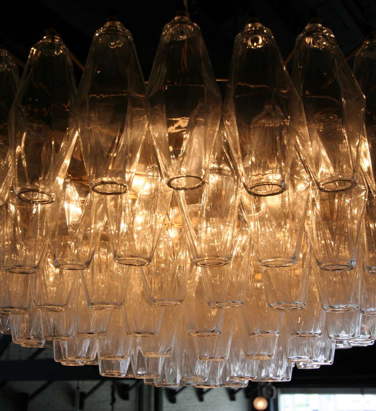 Round Italian Venini 1970s Polyhedron Glass Chandelier In Good Condition For Sale In Los Angeles, CA