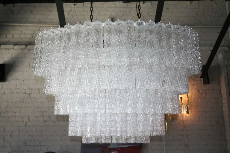 Murano Glass Large 1970s Venini Murano Clear Glass Chandelier with Five Tiers For Sale