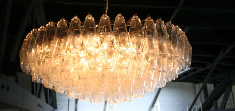Round Italian Venini glass chandelier from the 1970s with 169 polyhedron glass pieces.