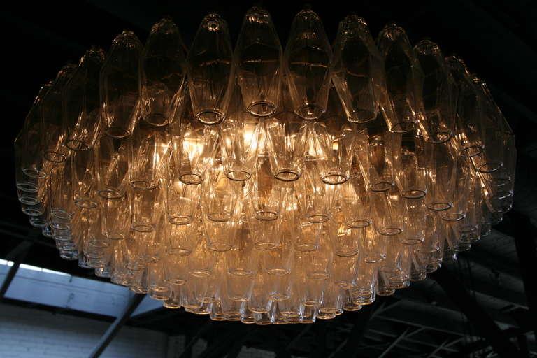 Mid-Century Modern Round Italian Venini 1970s Polyhedron Glass Chandelier For Sale