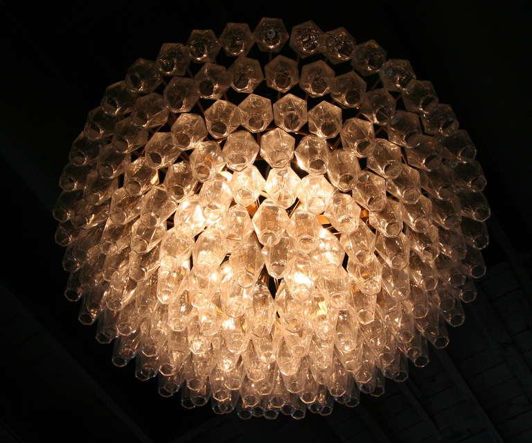 Round Italian Venini 1970s Polyhedron Glass Chandelier For Sale 1