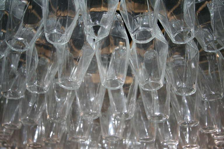 Round Italian Venini 1970s Polyhedron Glass Chandelier For Sale 5