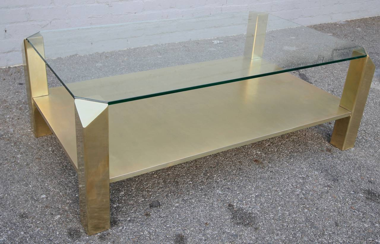 Pair Of 1970s Rectangular Brass Coffee Tables With Glass Top For Sale At 1stdibs