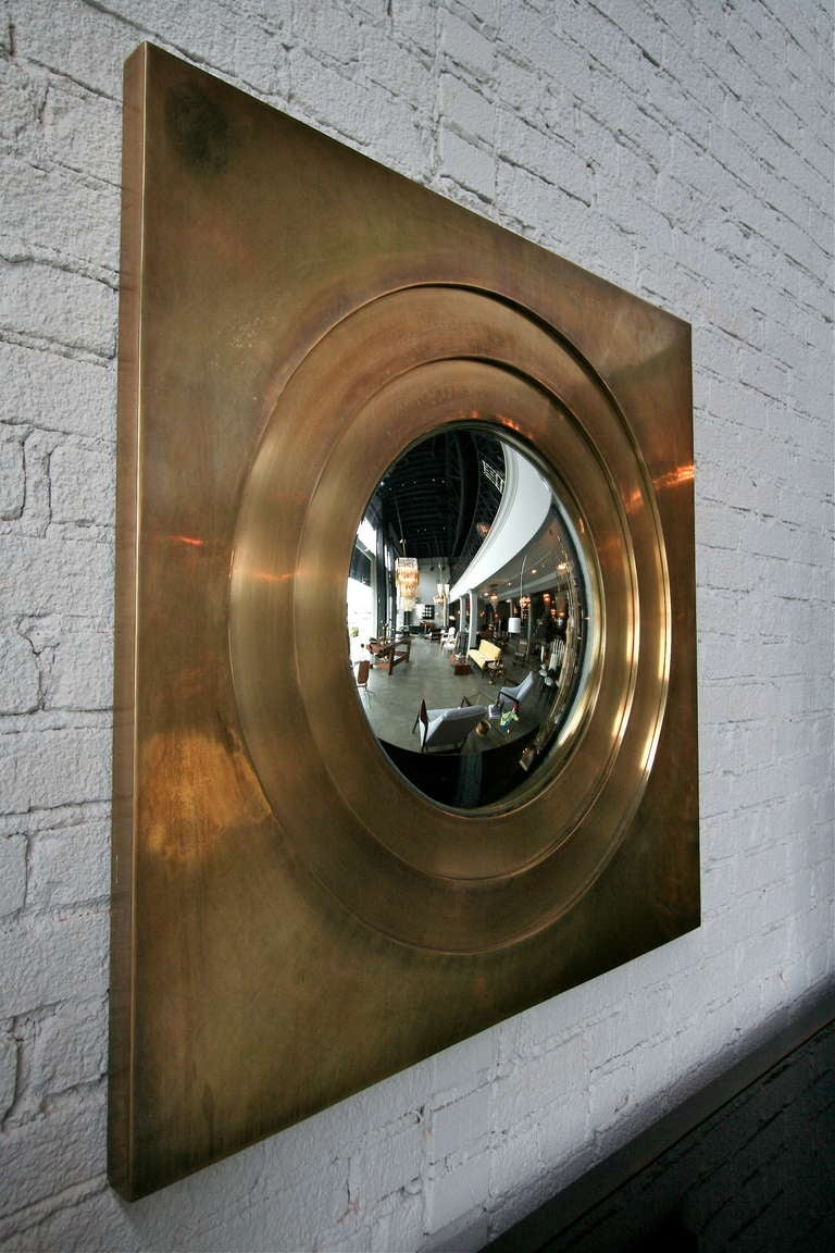 Mid-Century Modern Brass Convex Mirror For Sale