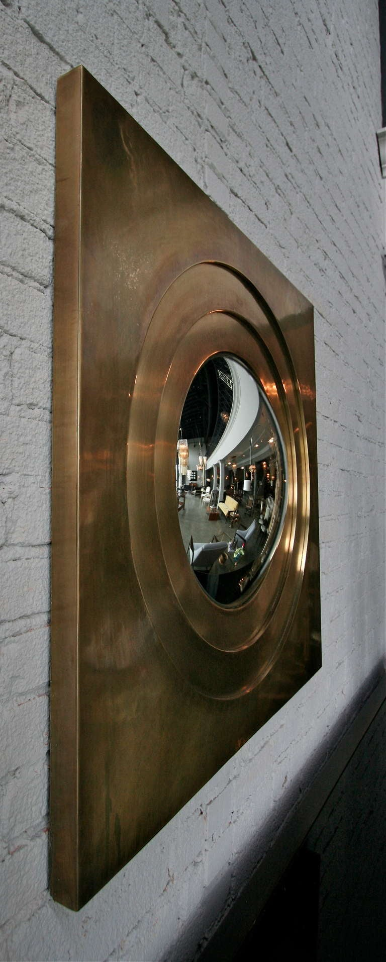 American Brass Convex Mirror For Sale
