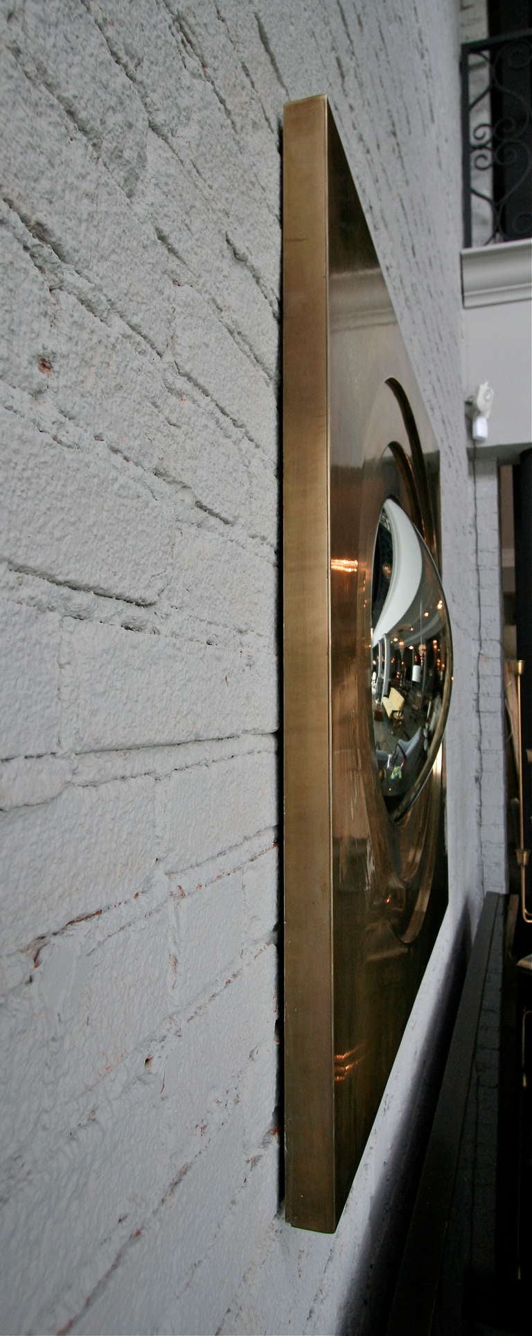 Contemporary Brass Convex Mirror For Sale