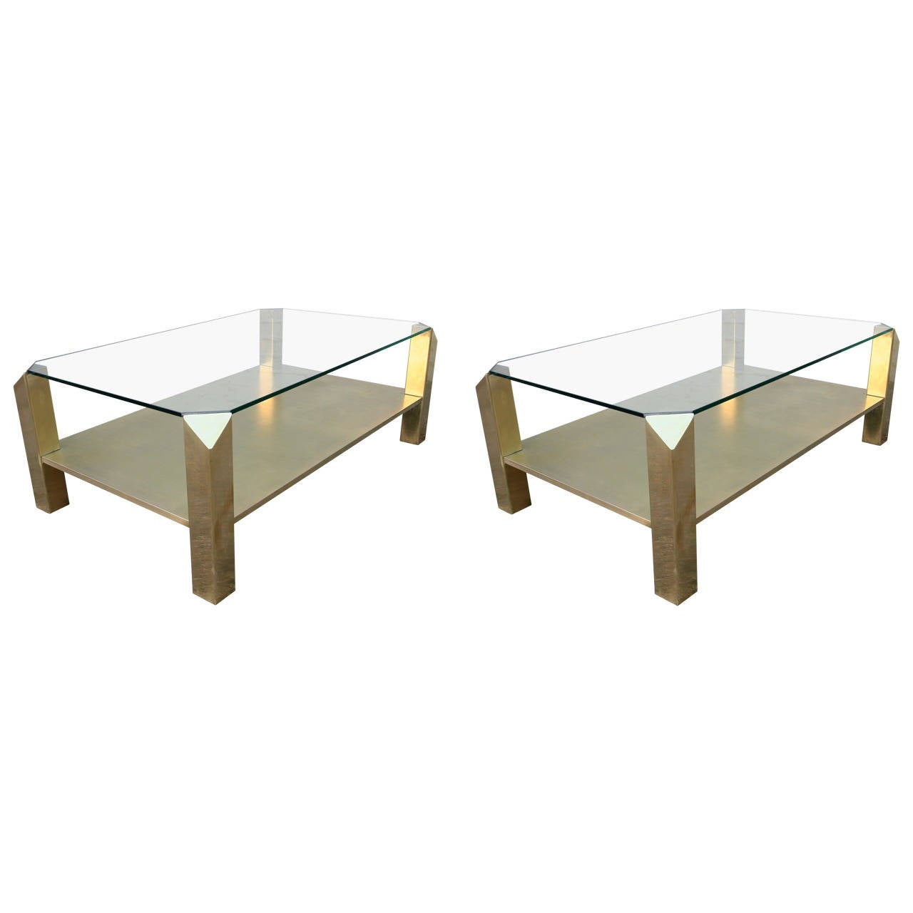 Pair of 1970s rectangular brass coffee tables with glass for Rectangular coffee table with glass top