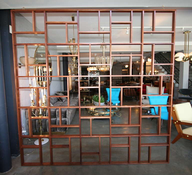 Mid-Century Modern Custom Midcentury Style Geometric Wood Room Divider by Adesso Imports For Sale