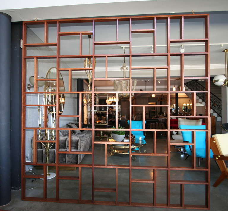 Midcentury geometric wood room divider by Adesso Imports.