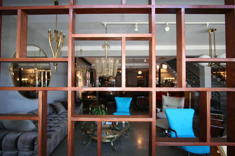 Custom Midcentury Style Geometric Wood Room Divider by Adesso Imports In New Condition For Sale In Los Angeles, CA
