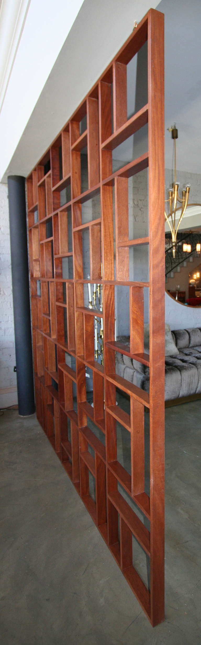 Contemporary Custom Midcentury Style Geometric Wood Room Divider by Adesso Imports For Sale