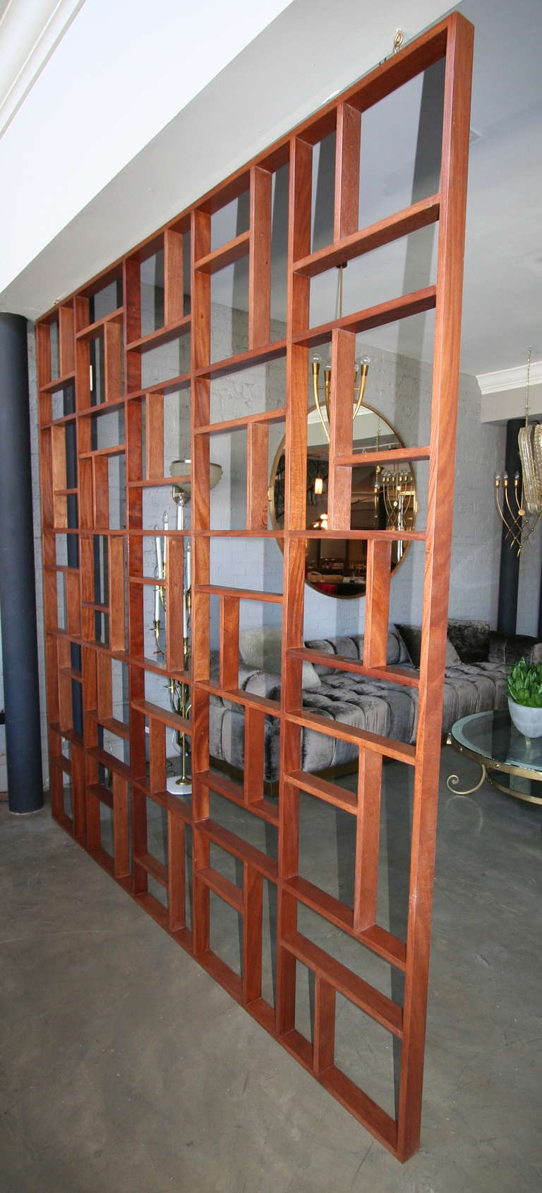 Mahogany Custom Midcentury Style Geometric Wood Room Divider by Adesso Imports For Sale