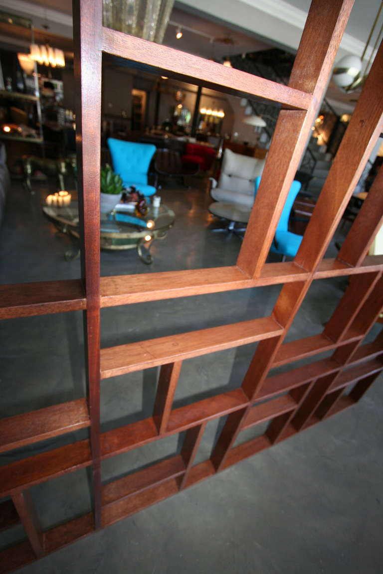 Custom Midcentury Style Geometric Wood Room Divider by Adesso Imports For Sale 1