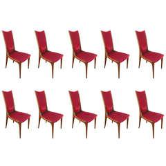 Set of Ten 1960s Brazilian Caviuna Dining Chairs