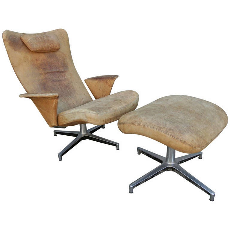 Weathered Lounge Chair with Ottoman from 1950s at 1stdibs