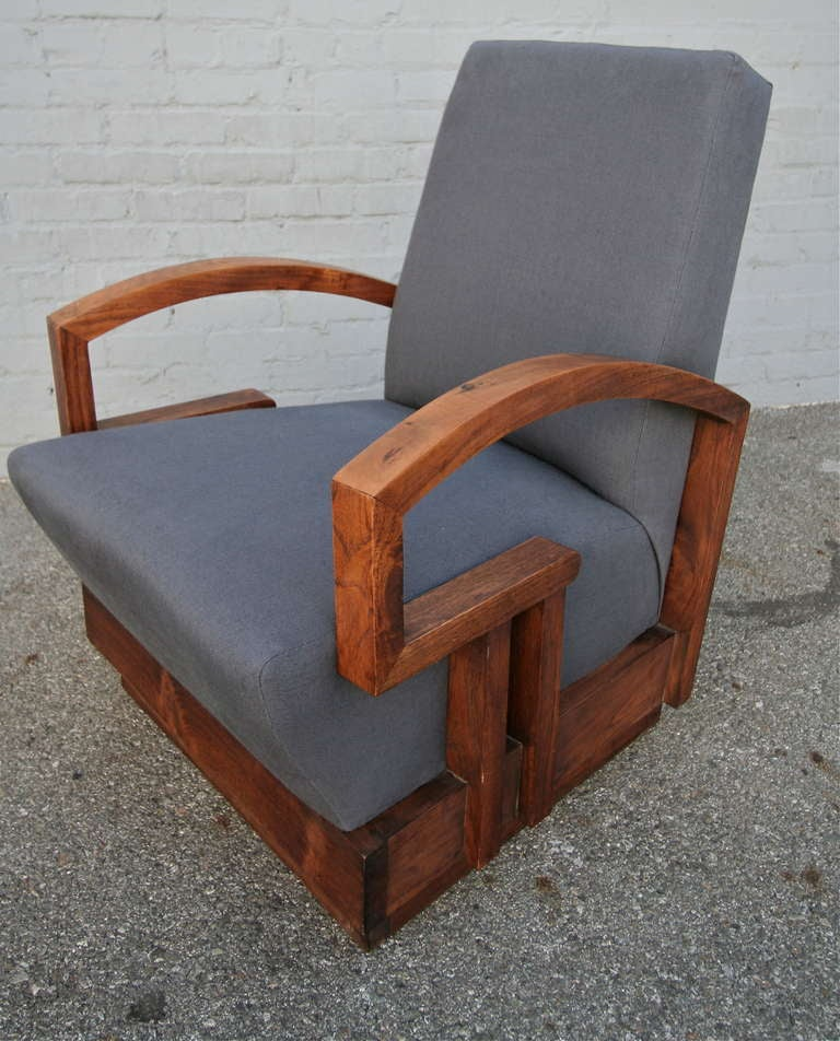 Pair of 1950s Art Deco armchairs with beautiful wood arms upholstered in charcoal linen.