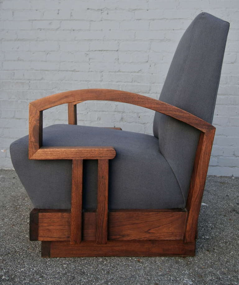 American Pair of 1950s Art Deco Armchairs For Sale
