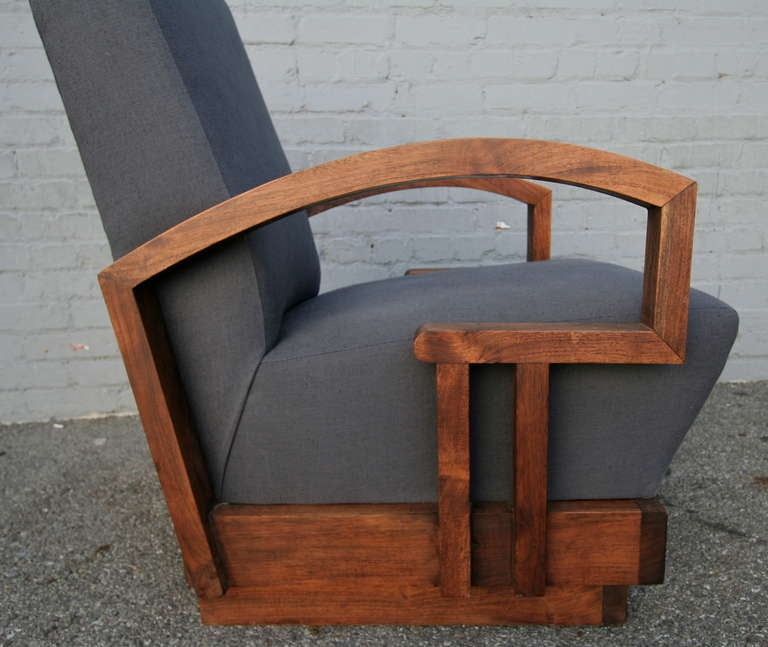 Wood Pair of 1950s Art Deco Armchairs For Sale