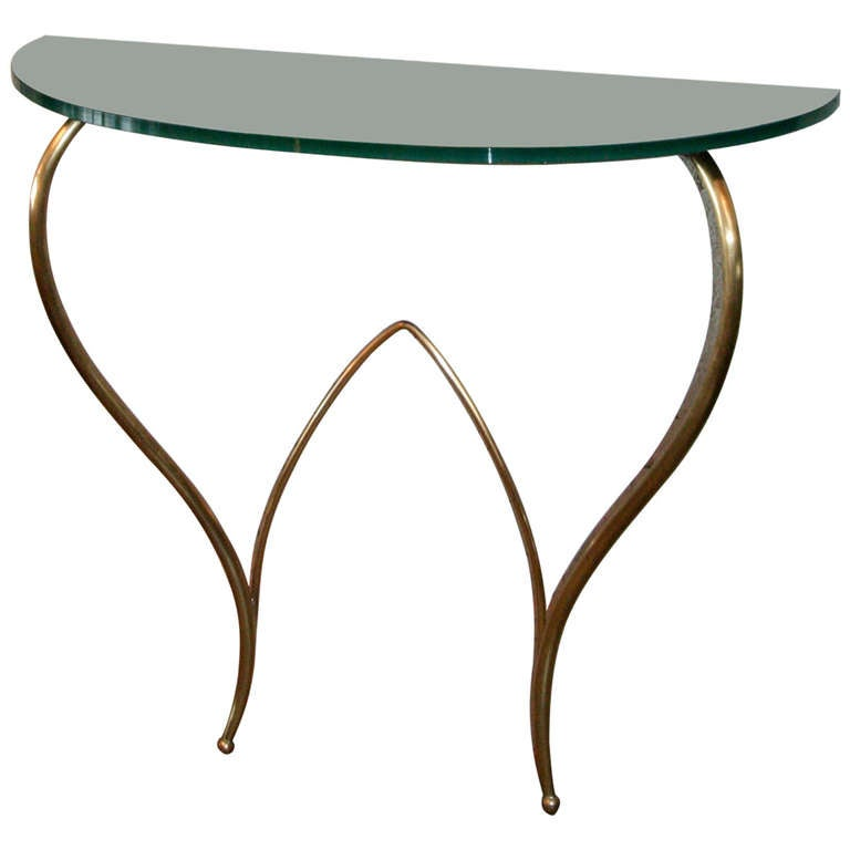 Italian Glass and Brass Console