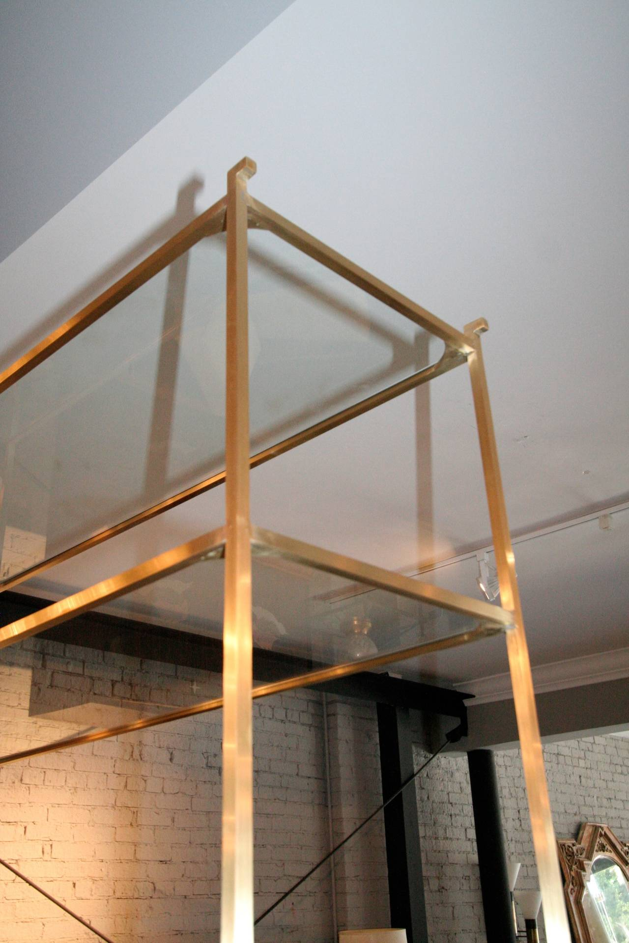 Pair of Tall Custom Brass Étagères with Glass Shelves For Sale 1