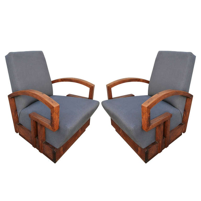 Pair of 1950s Art Deco Armchairs