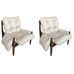 Pair of 1960s Brazilian Jacaranda Armchairs in Beige Leather