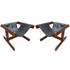 Pair of 1960s Percival Lafer Brazilian Jacaranda Lounge Chairs