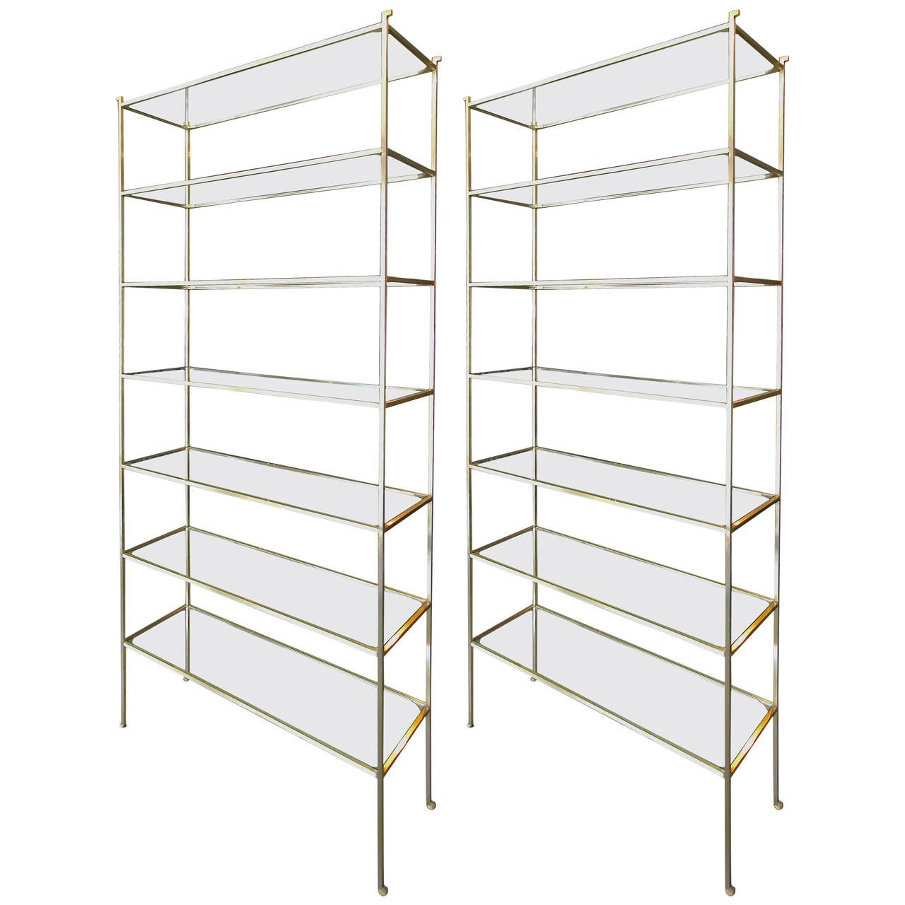 Pair of Tall Custom Brass Étagères with Glass Shelves