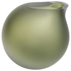 Anna Torfs Vaza Large Glass Vase / Sculpture in Moss Green