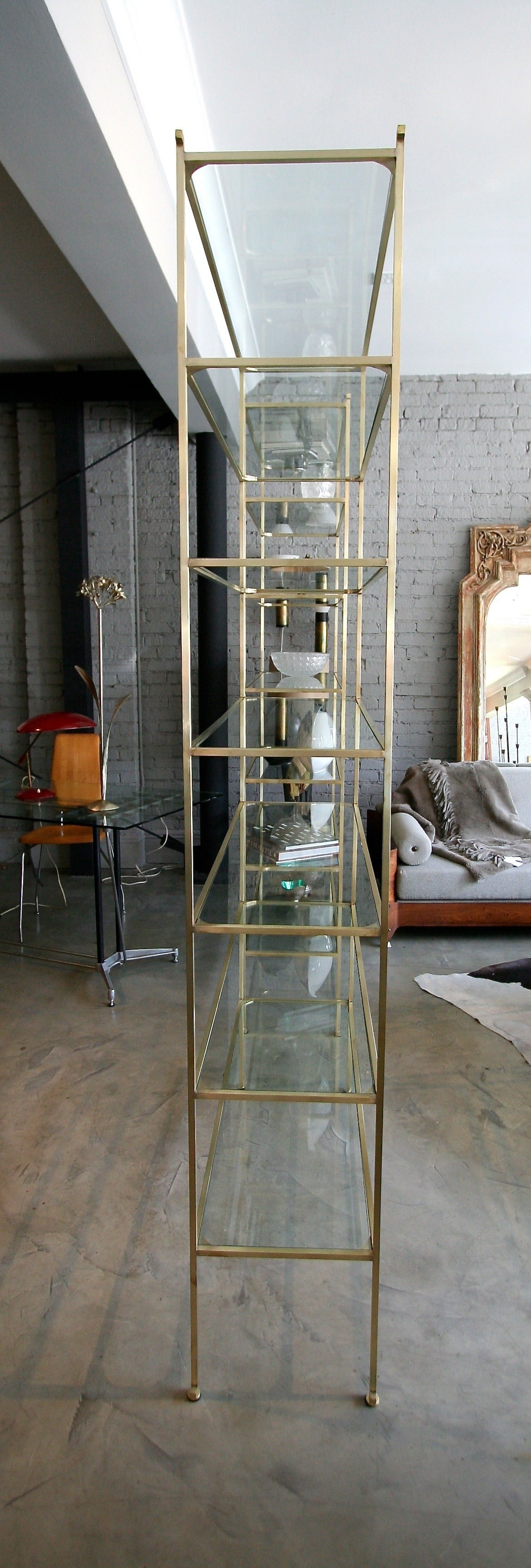 American Pair of Tall Custom Brass Étagères with Glass Shelves For Sale