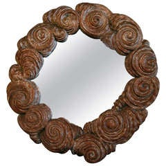 Baroque Style 1940s Brazilian Carved Wood Mirror