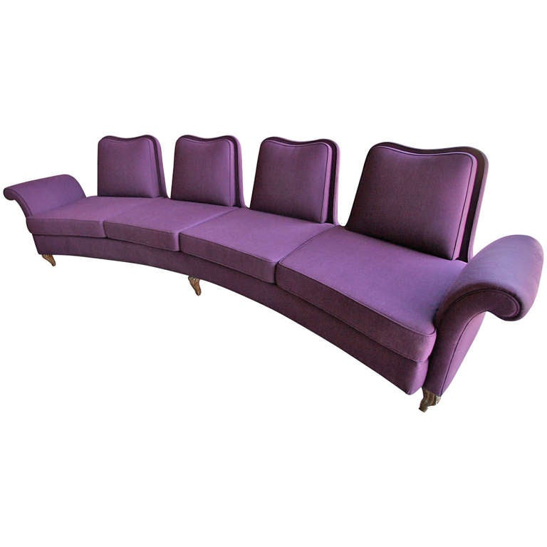 Curved Four Seat Sofa by Dinotti at 1stdibs