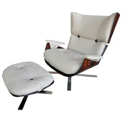 1960s Paulistana Brazilian Armchair and Ottoman by Zalszupin