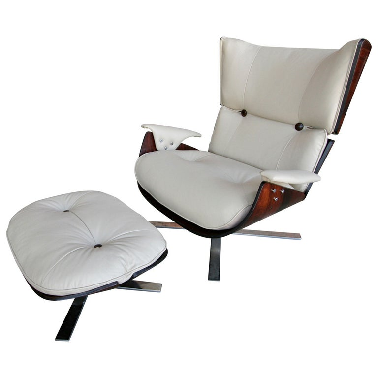 1960s Paulistana Brazilian Armchair and Ottoman by Zalszupin For Sale